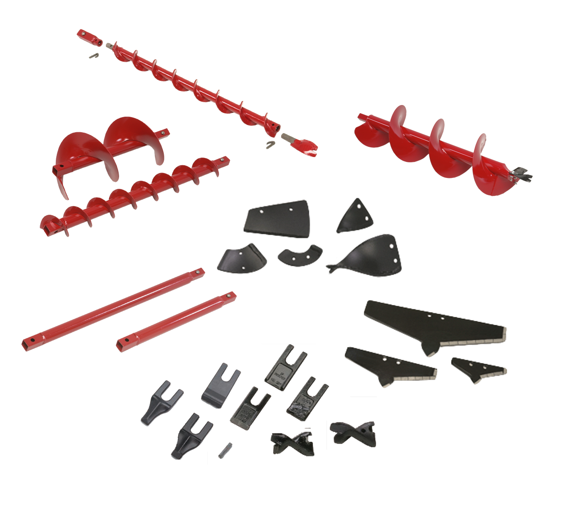 Earth drill augers, points, blades and extensions