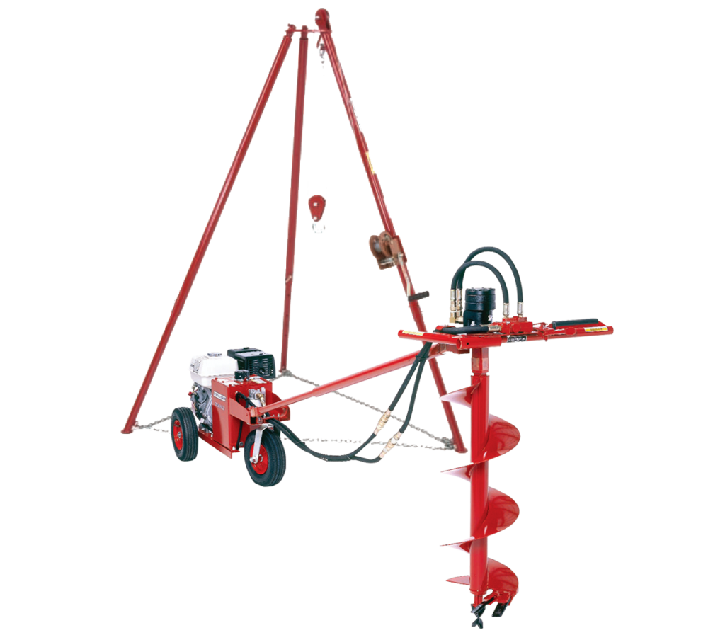 Hydraulic drill with tripod kit for soil sampling